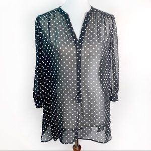 [Lauren Conrad] Sheer Polka Dot Blouse - Size XL